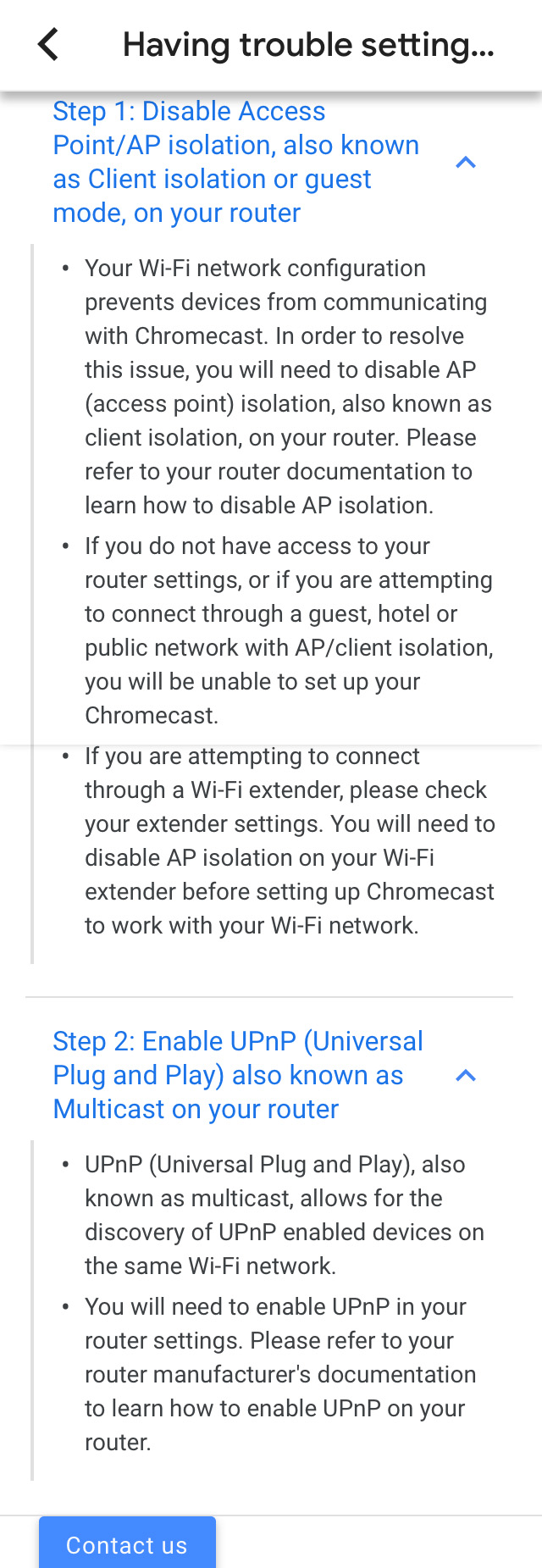 Chromecast connected to wifi, but not interacting with