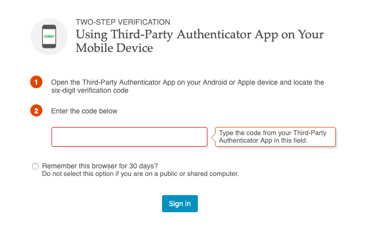 2 Factor Auth does not show QR code for syncing with 3rd party