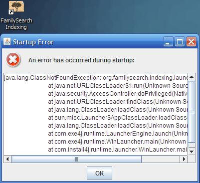 FamilySearch Indexing: Startup Error: java lang