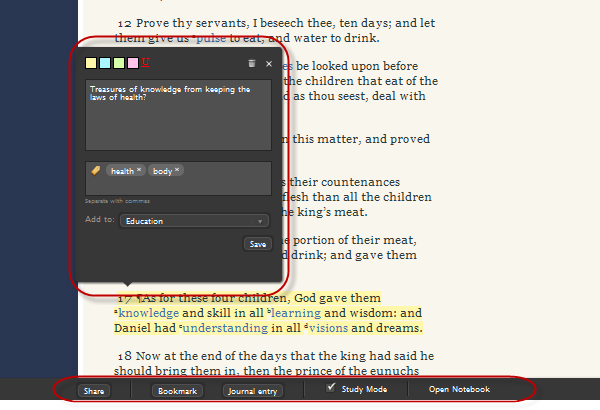 Additional Features in Reading Scriptures on LDS org