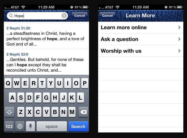 Book of Mormon app for iOS