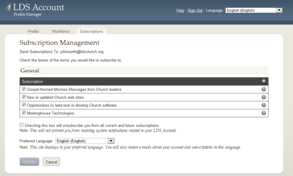 LDS Account Subscription Management