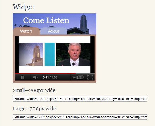 General conference widgets
