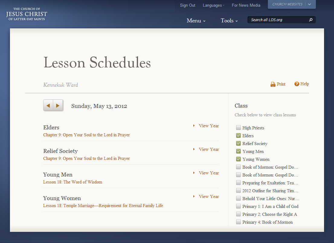 Lesson Schedules on Tools menu of LDS.org