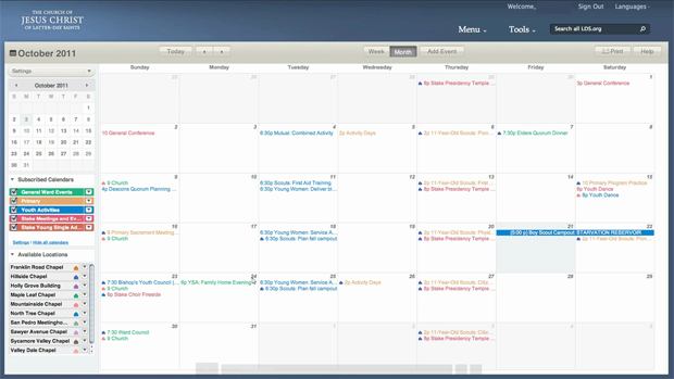 LDS.org Calendar Interface