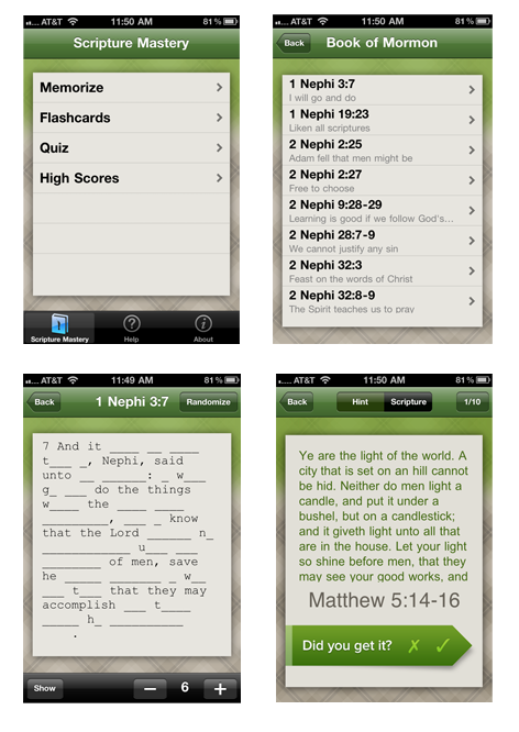 Screenshots from the iPhone Scripture Mastery App