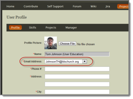 Select your e-mail address