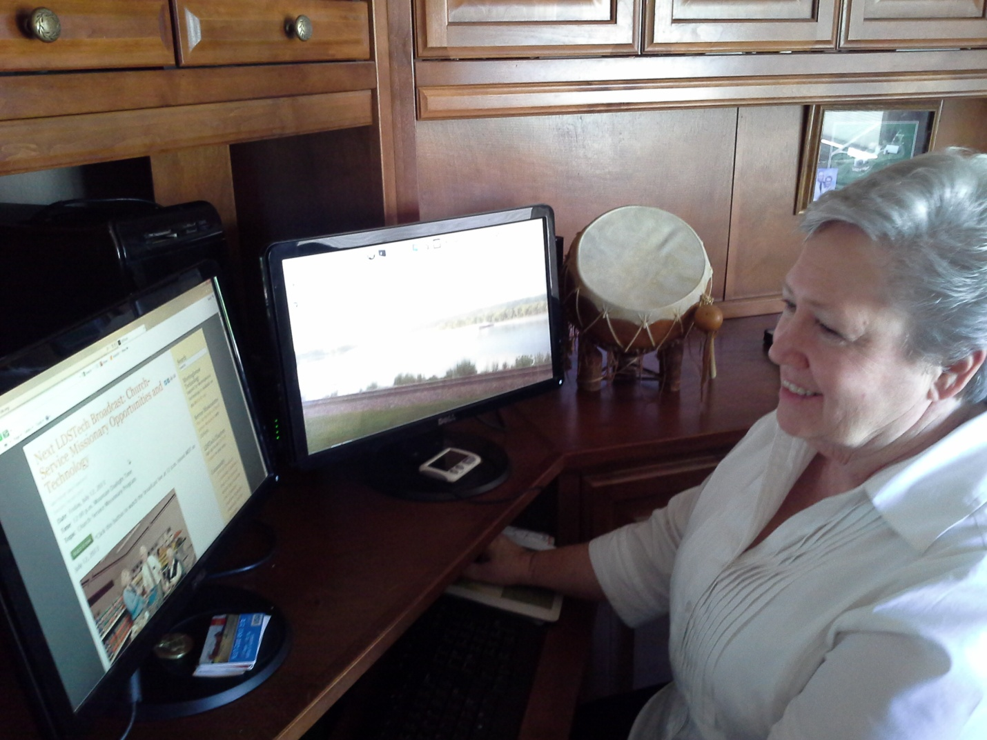 Sister Gardner sitting at her home computer