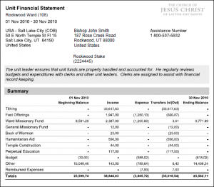 Unit Financial Statement - LDSTech